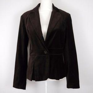 Rafaella Brown Velveteen Peplum Blazer Size 10